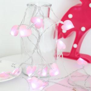 LED světelný valentýnský řetěz se srdíčky a růžičkami