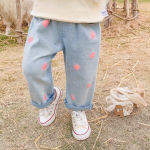 Puntíkaté džíny pro dívky