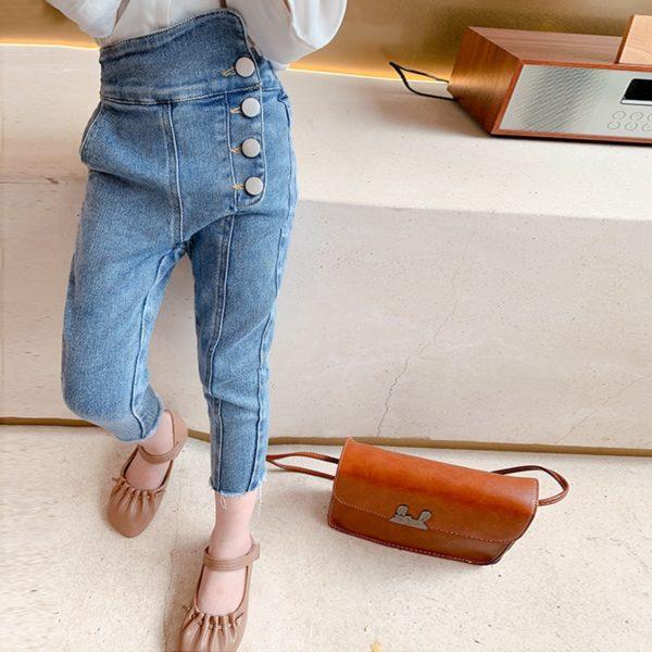 Moderní džíny z ozdobnými knoflíky pro dívky