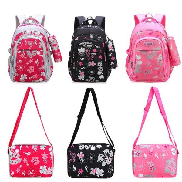 Školní květinový dívčí batoh + menší taštička
