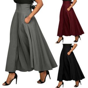 Dámská módní dlouhá áčková sukně s kapsou a vázanou mašlí