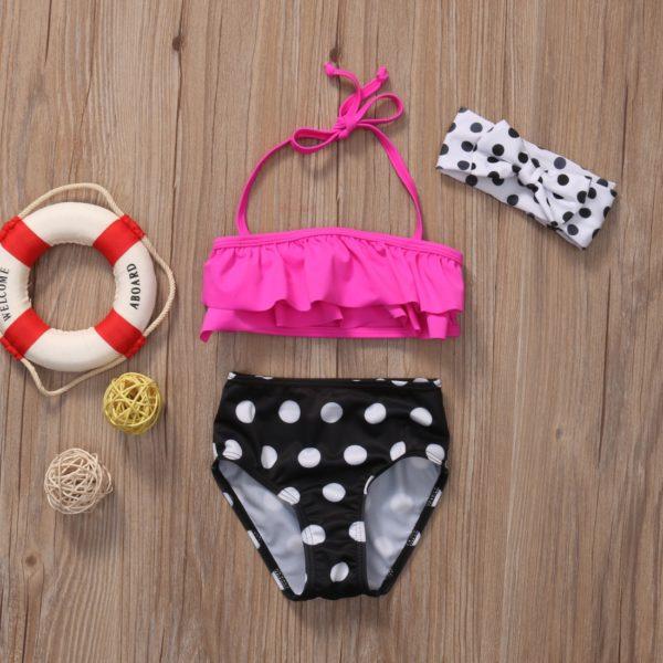 Dětské dívčí dvoudílné puntíkaté plavky s volánky a čelenkou