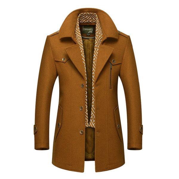 Pánský vlněný zimní jednobarevný kabát