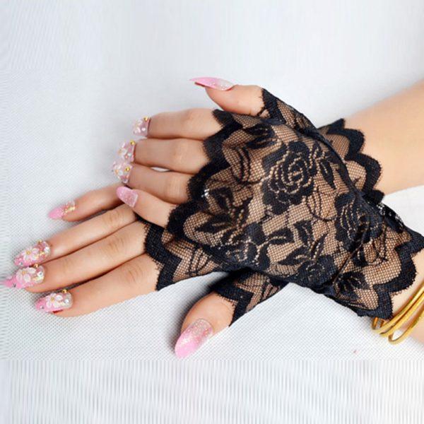 Dámské květinové krajkové rukavice - bezprsté