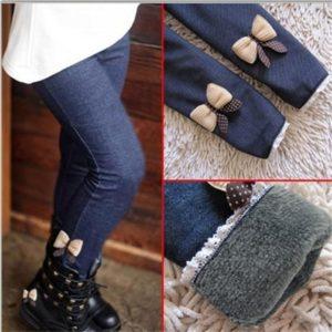 Dívčí jarní džíny s mašličkou