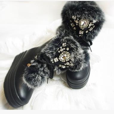 Moderní dámské zimní boty s kamínky