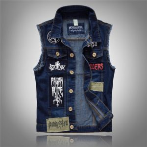 Pánská potrhaná džínová vesta s nášivkami