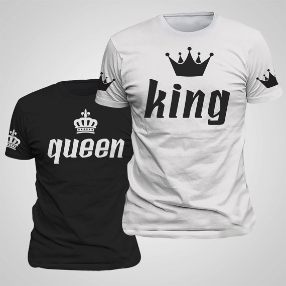 Trička pro páry s korunou Queen a King