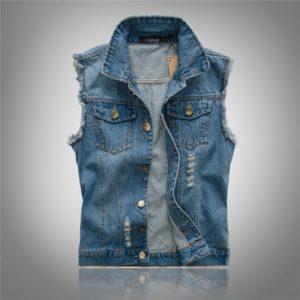 Pánská retro džínová vesta