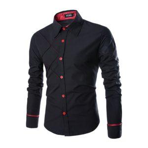 Luxusní pánská košile s dlouhým rukávem TIMM – černá