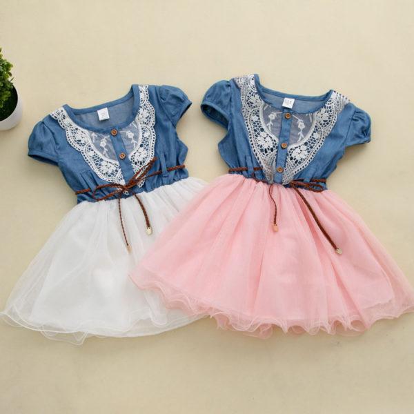 Dívčí Denim roztomilé šaty s krajkou a Tylovou sukní