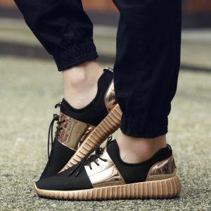Stylové síťkované boty s lesklým pruhem a patou