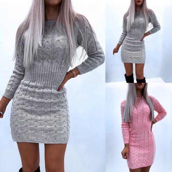 Dámské úpletové pletené mini šaty s dlouhým rukávem