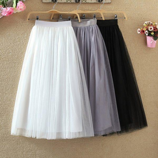 Dámská tylová áčková sukně s podšívkou