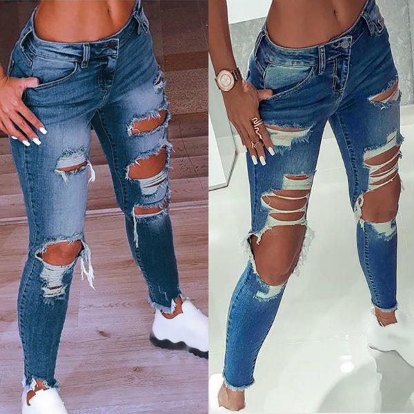 Dámské bokové džíny s velkými dírami