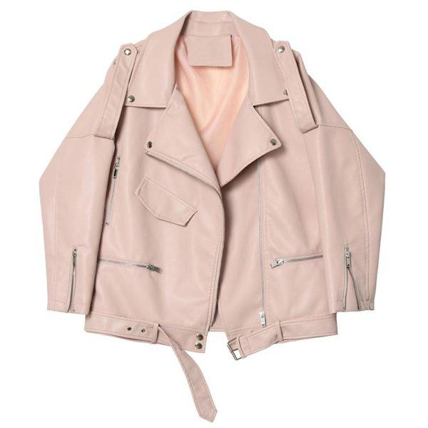 Dámská jarní volná bunda z umělé kůže