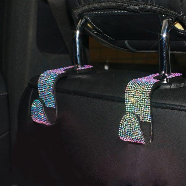 Kreativní závěsný háček na opěradla automobilů s diamantovým zdobením