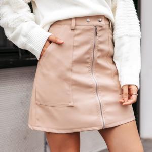 Dámská podzimní krátká sukně se zipem