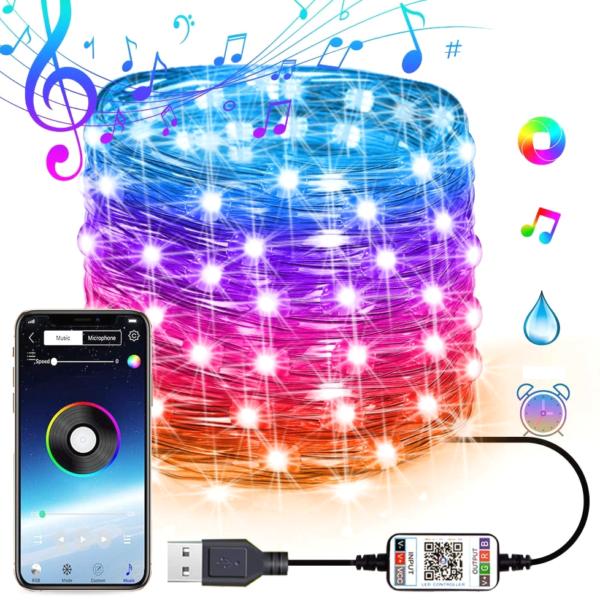 Vánoční RGB světýlka na stromek ovládané telefonní aplikací