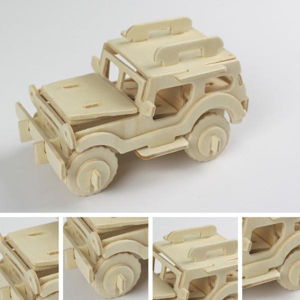 3D dřevěné skládačky vojenské auto - dřevěné hračky