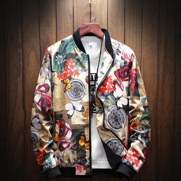 Pánská jarní bunda s Japonským květinovým vzorem