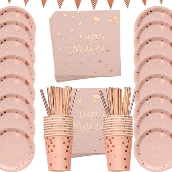 Růžový stolovací narozeninový set 78 ks