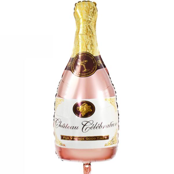 Rose Gold velký nafukovací balónek ve tvaru šampusu