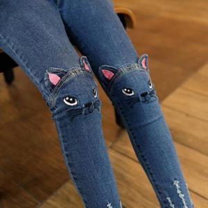 Teplé dívčí džínové originální kalhoty s vyšívanou kočičkou