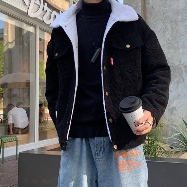 Pánská teplá bunda s kožíškem uvnitř a náprsními kapsami