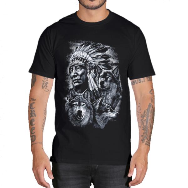 Pánské bavlněné stylové tričko s motivem vlka - více variant