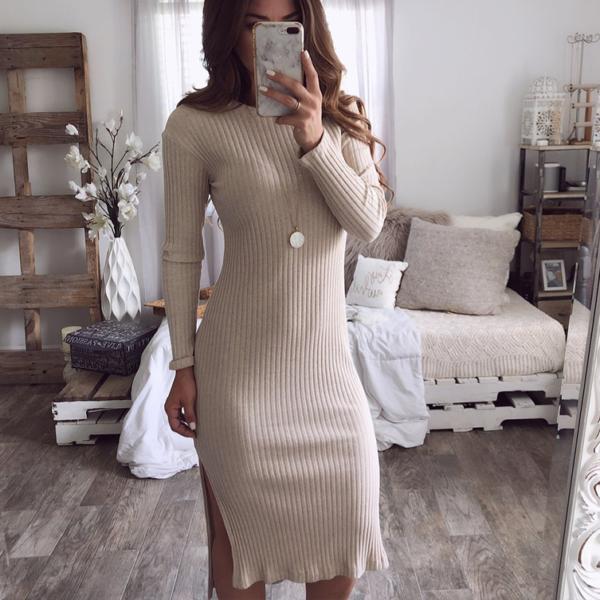 Zimní sexy pletené šaty s rozparkem