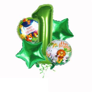 Set nafukovacích balónků a nafukovacích čísel s tématem safari