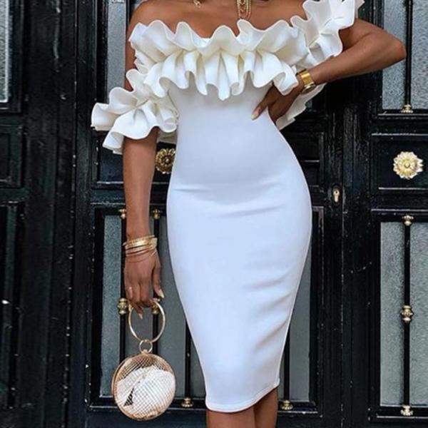 Dámské elegantní přiléhavé šaty s volány Paria - Kolekce 2021
