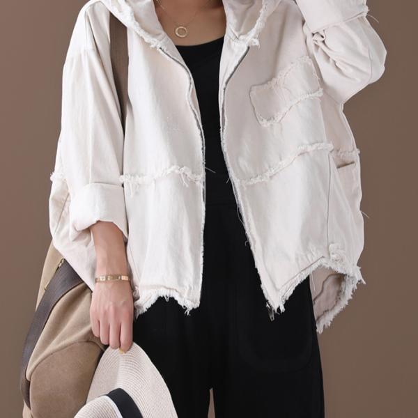Dámská trhaná jarní bunda s kapucí