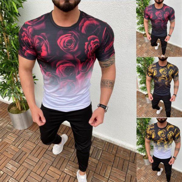 Pánské trendy triko potiskem růží