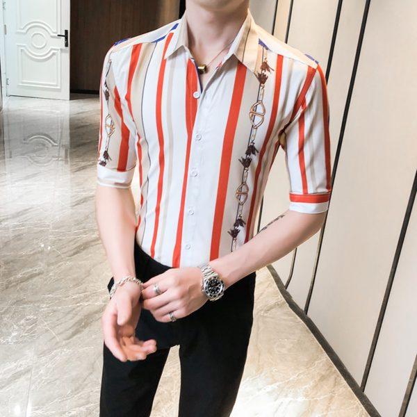 Pánská proužkovaná neformální letní košile