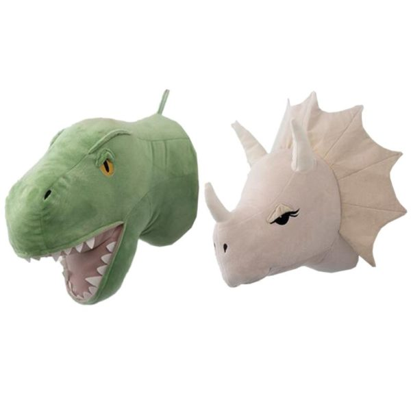 3D plyšová hlava dinosaura na zeď