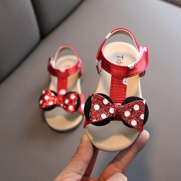 Dívčí roztomilé neformální sandálky s mašlí Minnie