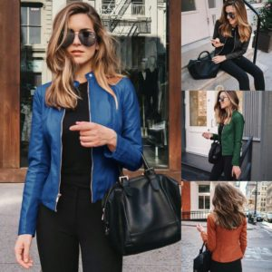 Dámská elegantní kožená bunda do pasu