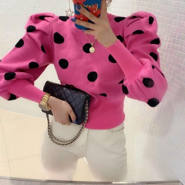 Dámský moderní svetr s puntíky Gizel