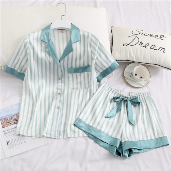 Dámské dvoudílné hedvábné pyžamo