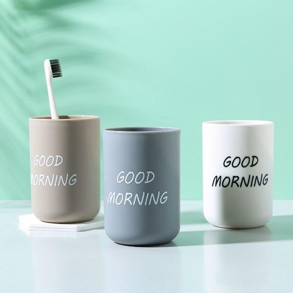 Pohár na zubní kartáčky s nápisem - Good Morning