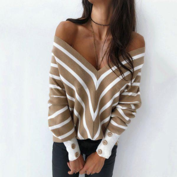Dámskýpruhované pulovrs velkým výstřihem Sofie