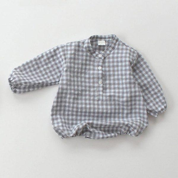 Dětská jarní romper kostkovaná košile s dlouhým rukávem