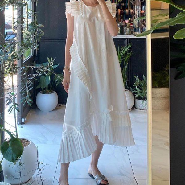 Elegantní ležérní dámské jednobarevné šaty na léto