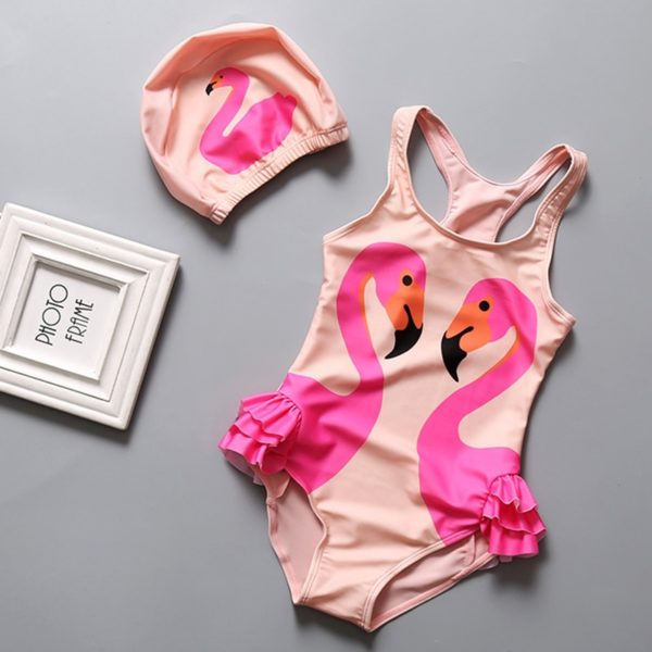 Dívčí jednodílné plavky s plaveckou čepicí