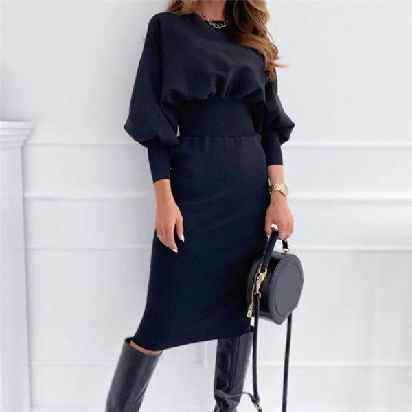 Dámské pouzdrové šaty s dlouhými nařasenými rukávy Kate