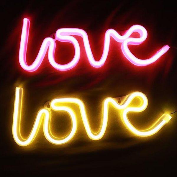 """Valentýnská LED neonová světla ve tvaru nápisu """"love"""""""