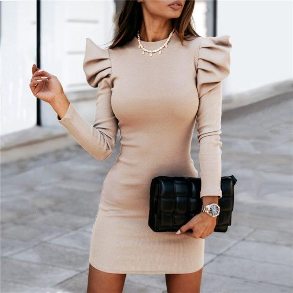 Dámské pouzdrové šaty s dlouhým rukávem a volánky u ramen - Kolekce 2021