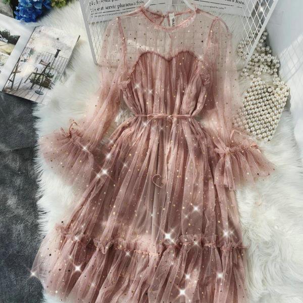 Dámské tylové šaty s volenkami